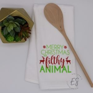 Merry Christmas Filthy Animal Hand Towel Kitchen